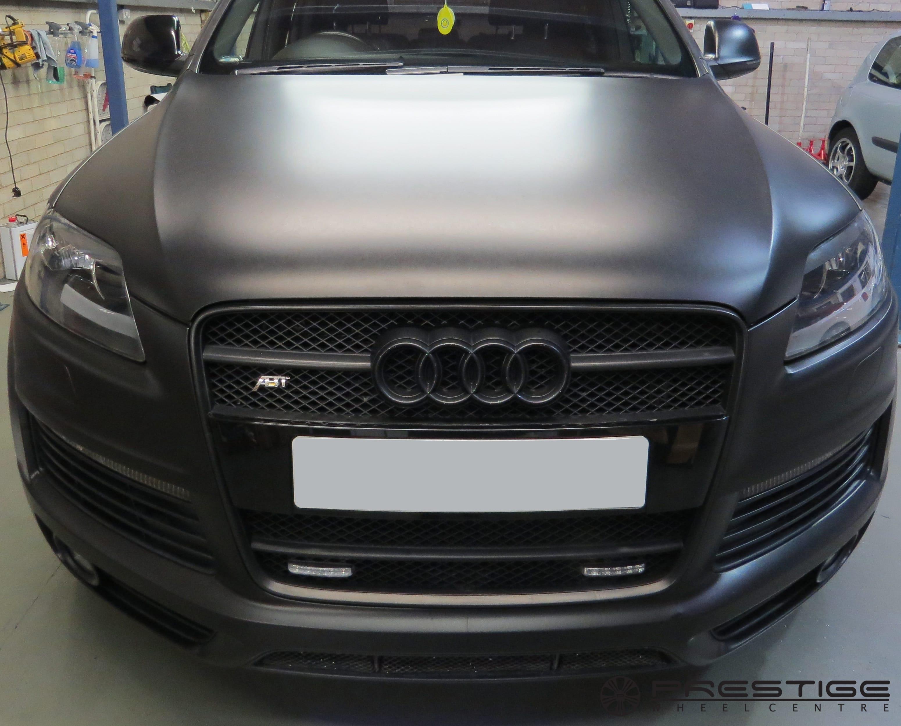 "Audi Q7 'Satin Black' vinyl wrap and new 22"" Hawke Wheels   Prestige Wheel Centre News"